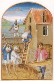Battage du blé, in Le Rustican (1460) Pierre de Crescens - Musé Condé - Chantilly
