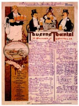 Menu de restaurant, dessiné par Guillaume, pour la taverne Tourtel du boulevard des Capucines - Musée des Arts décoratifs - Paris