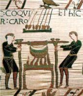 Tapisserie de reine Mathilde (1080) - Cuisiniers faisant cuire des viandes dans une marmite - BAYEUX