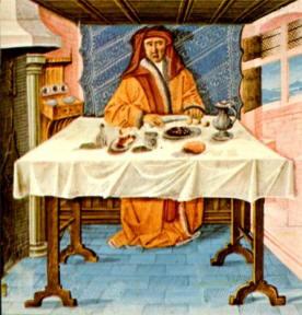 """L'abstinence, miniature extraite du """"Livre des bonnes moeurs"""" de Jacques le Grant - 15 ième - Musée Condé - Chantilly"""