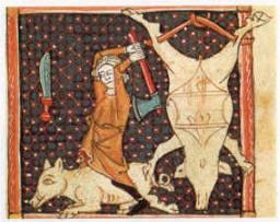 Décembre, l'abattage du cochon, enluminure in Le Bréviaire d'amour - Escurial, Madrid '13ième siècle)