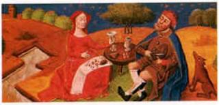 Repas campagnard, miniature, in Codex Sophilogum - Archives de Tombo - Lisbonne