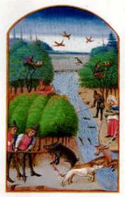 La chasse, in Le Rustican (1460) Pierre de Crescens - Musé Condé - Chantilly