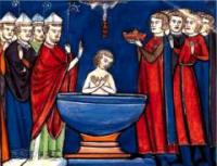 Baptème de Clovis, à gauche St Rémi - Manuscri du XIIIe - B.N.P