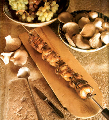 Cailles en broches for Cailles sur canape